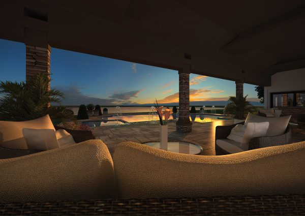 3D architectural rendering Lago Bella at sunset